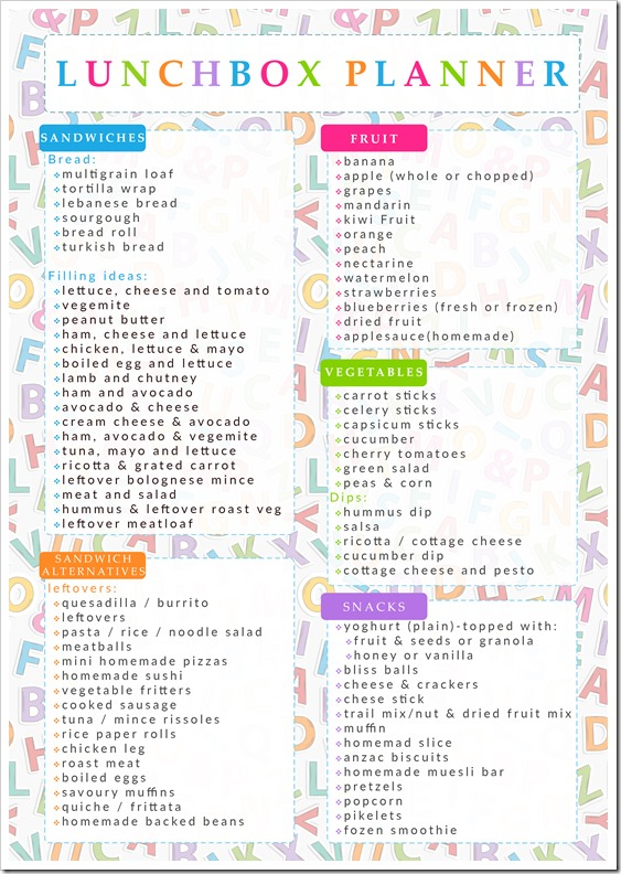Lunchbox Printable