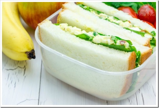 Lunch box with egg salad sandwiches, apple and banana